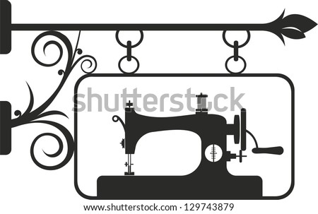 Vintage sewing machine. Vector illustration. - stock vector