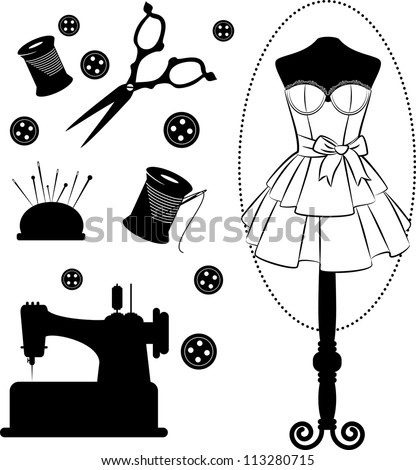 Vintage sewing related elements on the background. Vector set - stock vector