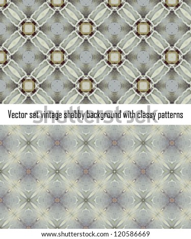 Vintage shabby background with classy patterns. Seamless vintage delicate colored wallpaper. Geometric or floral pattern on paper texture in grunge style. - stock vector