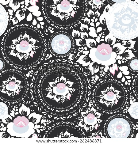 Vintage shabby Chic Seamless ornament, pattern with Pink and white flowers and leaves on black background. Vector  - stock vector