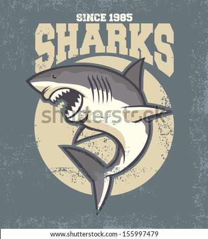 vintage shark mascot - stock vector