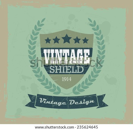 Vintage shield and laurel wreath design elements  - stock vector
