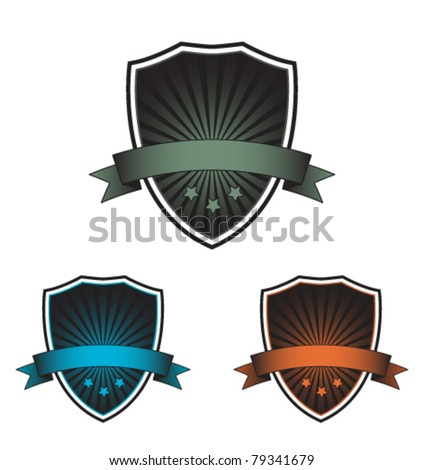 Vintage shields set - stock vector