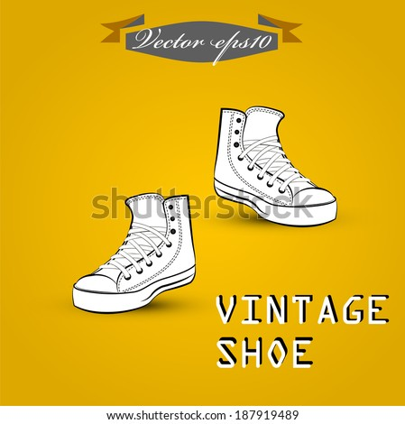 vintage shoes vector - stock vector