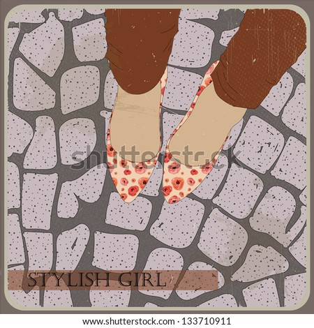Vintage shoes with flowers fabric. High heels background with sett and place for you text - stock vector