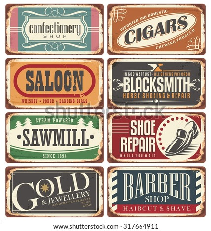 Vintage shop posters collection. Retro store tin signs design on rusty background.  - stock vector