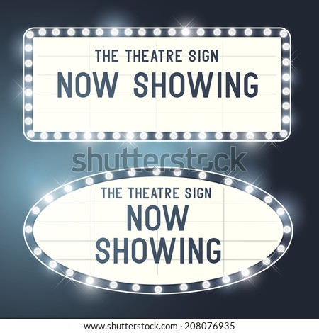 Vintage Showtime theatre cinema Signs with a glamorous feel. Vector illustration. - stock vector