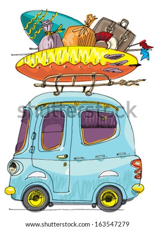 vintage shuttle bus - cartoon - stock vector