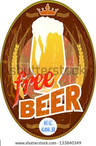 "vintage sign - ""free beer"" - stock vector"