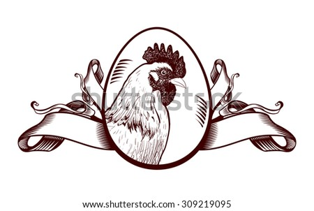 Vintage sign with hen and ribbons. - stock vector