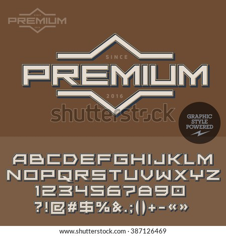 Vintage signboard for retro styled restaurant, cafe, bar. Vector set of letters, numbers and symbols. - stock vector