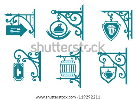 Vintage signs of pubs, taverns and restaurants isolated on white. Jpeg version also available in gallery - stock vector