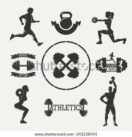 Vintage silhouette fitness set. Set sports emblems. Ribbon banners - stock vector