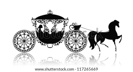 vintage silhouette of a horse carriage - stock vector