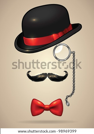 Vintage silhouette of bowler, mustaches, monocle and a bow tie - vector illustration. Shadow and background are on separate layers. Easy editing. - stock vector