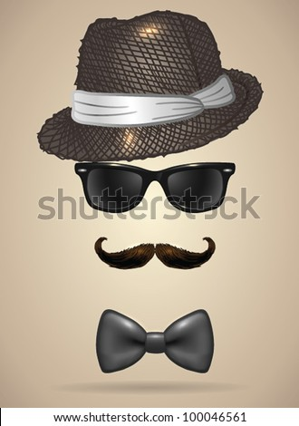 Vintage silhouette of fedora hat, mustaches, sunglasses and a bow tie 3 - vector illustration. Shadow and background are on separate layers. Easy editing. - stock vector