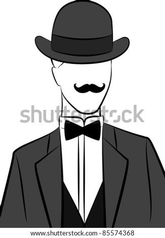 Vintage silhouette of man  in hat.Vector - stock vector