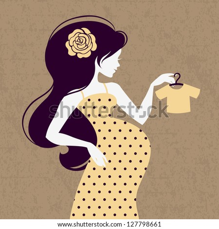 Vintage silhouette of pregnant woman with baby's loose jacket - stock vector