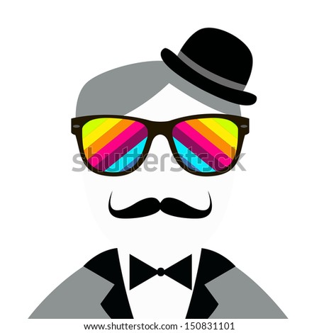 Vintage silhouette of top hat, mustaches, bow tie - vector illustration. - stock vector