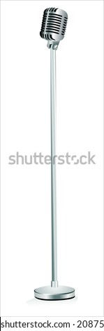 Vintage silver microphone isolated on white background - stock vector