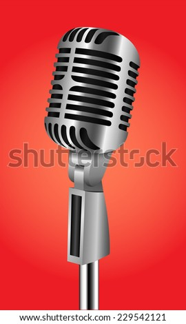 Vintage silver microphone  - vector illustration