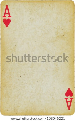 vintage simple background : playing card -  ace of hearts - stock vector