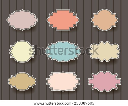 vintage simple frames set on brown background - stock vector