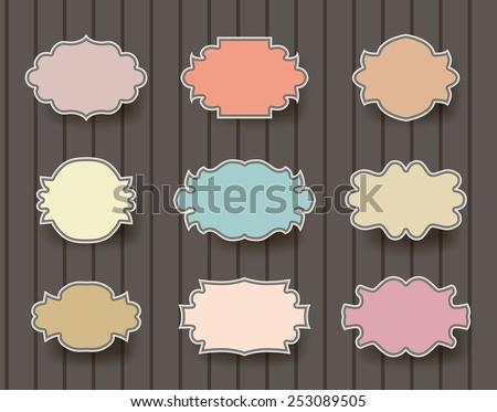 vintage simple frames set on brown background - stock vector