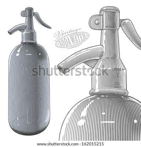 Vintage siphon bottle in engraved style. Vector illustration, isolated, grouped, transparent background. All elements are separated. - stock vector