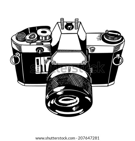 Vintage Sketch photo camera. Vector.