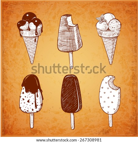 Vintage Sketches of six kinds of ice-cream. Ice cream cone, classic chocolate stick ice cream, ice cream scoops decorated with mint, chocolate topping. - stock vector