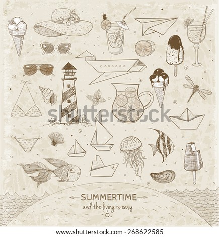 Vintage Sketches of summer elements. Ice cream, cocktails, paper boats, paper planes, sunglasses, sea animals. Vector illustration.