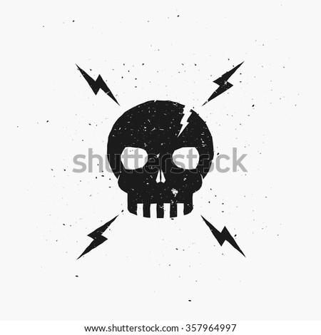 vintage skull illustration lightning bolts vector stock vector