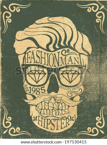 vintage skull label - stock vector