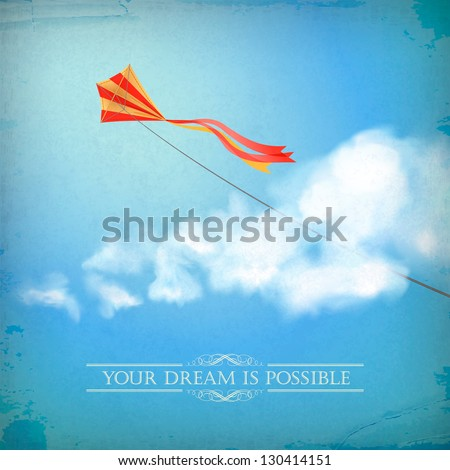 Vintage sky old paper background. Flying kite, white fluffy clouds, divider lines, text, subtle grunge texture at the backdrop in blue colors on a clear summer day. Concept dream design in retro style - stock vector