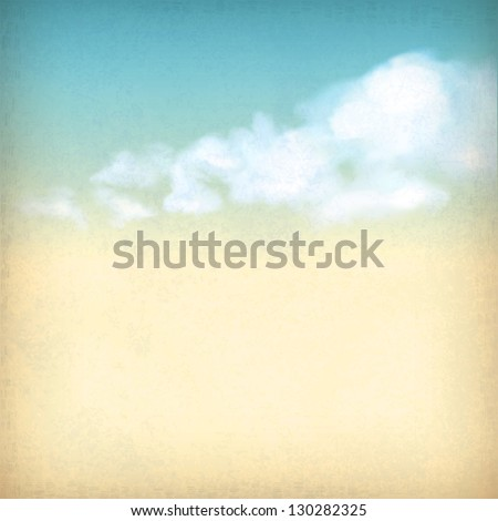 Vintage sky old paper retro style background with white clouds, subtle grunge texture of surface of the paper at the backdrop in blue & yellow colors like watercolor stretching on a clear summer day - stock vector