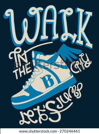 vintage sneakers and typography design for tee - stock vector