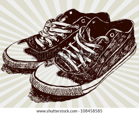Vintage Sneakers Hand Drawn - stock vector