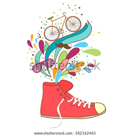 Vintage sneakers with elements of summer and hipster, bicycle, glasses and a mustache.  Vector illustration. - stock vector