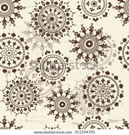 Vintage snowflakes seamless pattern. All elements of composition located on separate layers and can be easy editable - stock vector