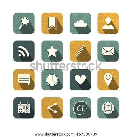 Vintage social media icons set, for social media and blogging vector illustration - stock vector