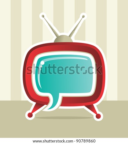 Vintage Social media web tv concept illustration. - stock vector