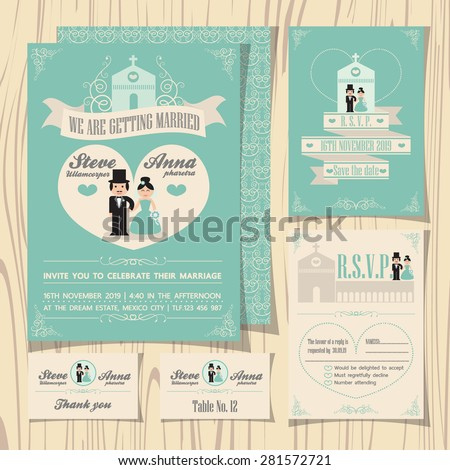 Vintage soft green theme wedding invitation with wedding couple cartoon template, ribbon and church background, RSVP card, guest card, table number, save the date - stock vector
