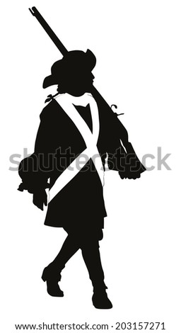 Vintage soldier with rifle marching. Vector silhouette - stock vector