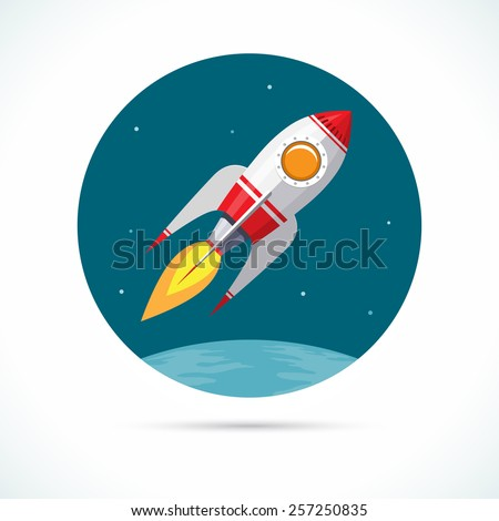 Vintage space rocket flying in space. Vector illustration - stock vector