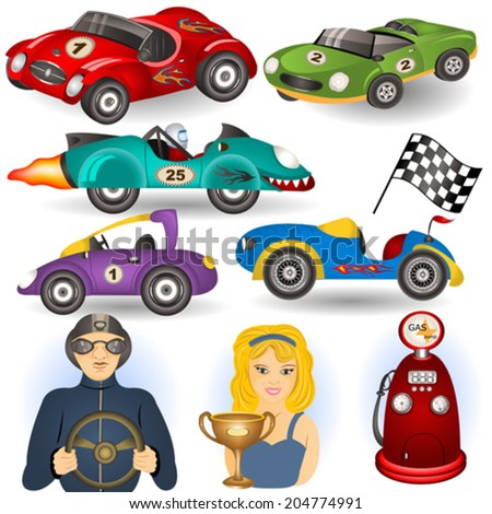 vintage sport cars cartoon illustration set. - stock vector