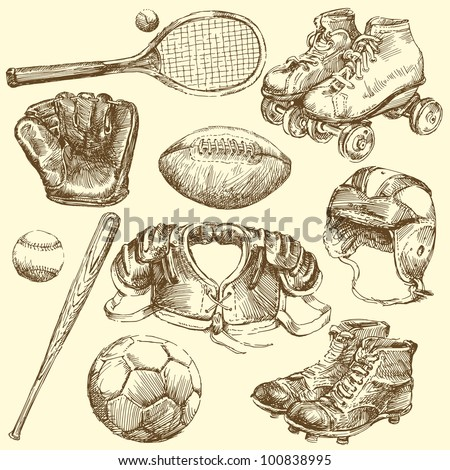 vintage sport equipment - hand drawn set - stock vector