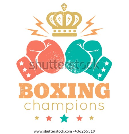 Vintage sport logo for a boxing with gloves and golden crown