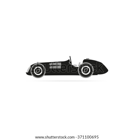 Vintage sport racing car. Flat icon. - stock vector