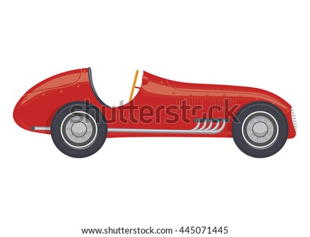 vintage sport racing car vector illustration isolated on a white background - stock vector
